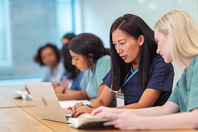 Physician assistant students learn in a classroom setting